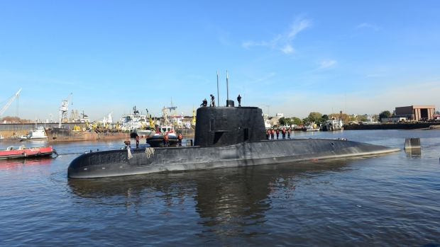 Undated handout photo from the Argentine Navy of the ARA San Juan submarine, which is missing. File photograph: Argentina Navy/EPA