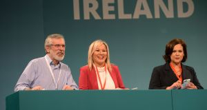 Gerry Adams, Michelle O'Neill and Mary Lou McDonald at the start of the Sinn Féin ardfheis at the RDS. Photograph: Alan Betson