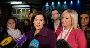 Mary Lou McDonald and Michelle O'Neill speaking to media at the start of the Sinn Féin Ard Fheis. Photograph: Alan Betson / The Irish Times