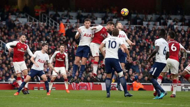 Arsenal's Shkodran Mustafi score the opening goal of the game. Photograph: Jonathan Brady/PA