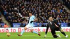 Gabriel Jesus scores Manchester City's opening goal against Leicester. Photograph: Michael Regan/Getty
