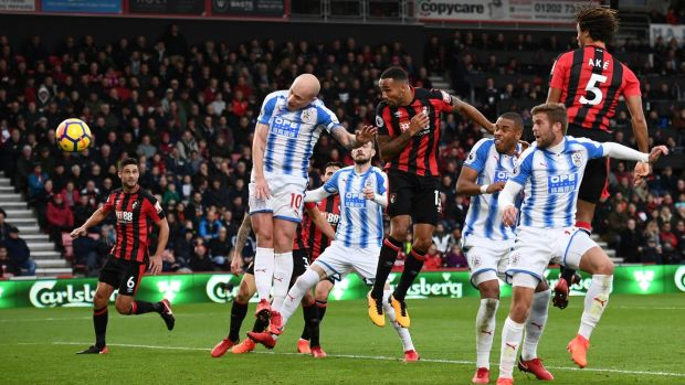 Bournemouth's Callum Wilson scores their first goal in the Premier League game against Huddersfield Town at the Vitality Stadium. Photograph: Dylan Martinez/Reuters