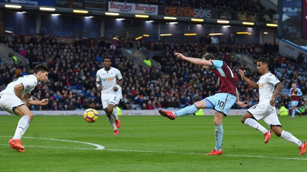 Burnley's Ashley Barnes scores his side's second goal of the game during the Premier League match against Swansea City at Turf Moor. Photograph: Anthony Devlin/PA Wire