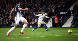Chelsea's Eden Hazard  scores his side's second goal of the game during the Premier League match against West Brom at The Hawthorns. Photograph:  Nick Potts/PA Wire