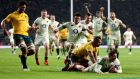Jonny May scores England's third try against Australia. Photograph: Nigel French/PA