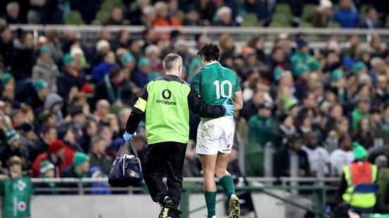 Joey Carbery was forced off with an wrist injury during Ireland's win over Fiji. Photograph: Ryan Byrne/Inpho