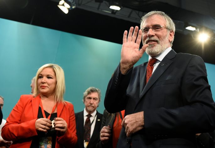 bd2f7306316 Sinn Féin president Gerry Adams waves after announcing that he will step  down from his position