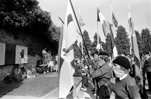 Listening to Sinn Fein leader Gerry Adams (background centre) at the ceremony at Bodenstown, Co. Kildare in June, 1983. Photograph: Pat Langan