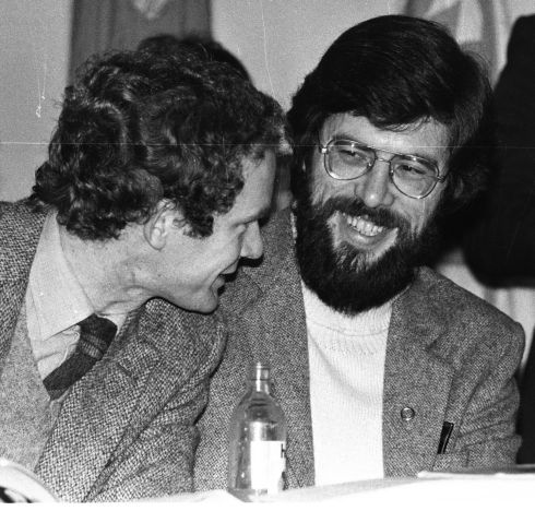 1982 - 1/11/1982 page 16 -   Gerry Adams at the Sinn Fein ardfheis in the Mansion House, Dublin, on November 1st, 1982. Both both men were elected members of the Northern Ireland Assembly.  Photograph: Paddy Whelan / The Irish Times