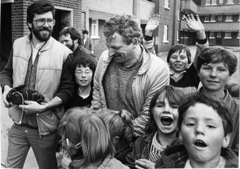 Gerry Adams Nicky Kelly canvassing in the local government elections in Fatima Mansions, Rialto, Dublin, June 7th, 1985.  Photograph: Pat Langan/The Irish Times