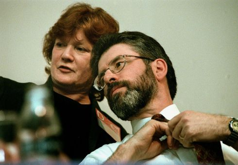 Gerry Adams and Rita O'Hare, Sinn Féin's Washington representative  at the ardfheis in the RDS on April 8th, 1999. Photograph: Matt Kavanagh