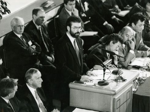 October 28th, 1994: Gerry Adams addresses the opening session of the Forum for Peace and Reconciliation at Dublin Castle.  Photograph:  Frank Miller