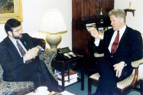 Gerry Adams is shown during a meeting with  former US president Clinton in the White House in February, 1996.  Photograph: Reuters