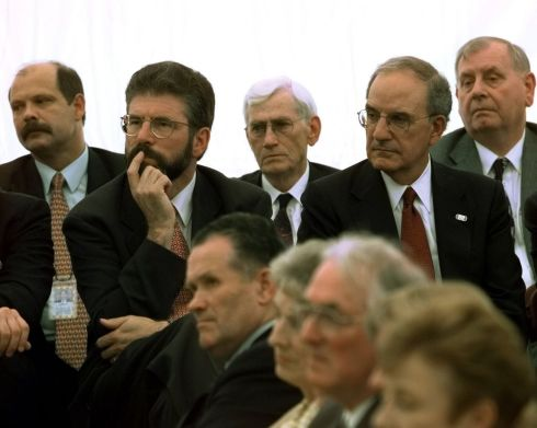 Bill Clinton addresses school children at the Springvale educational village in Belfast, September 3rd, 1998: Pictured are former UVF spokesman David Irvine, Gerry Adams, former deputy first minister Seamus Mallon, former US senator George Mitchell  and MP Joseph Hendron. Photograph: J Scott Applewhite/AP