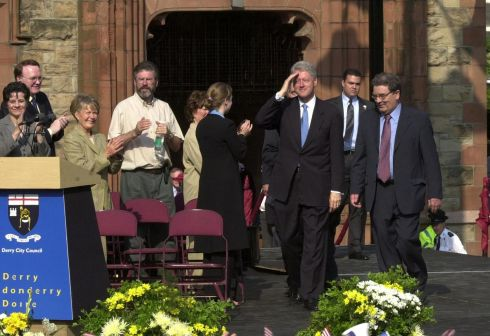 May 24th, 2001: Bill Clinton John Hume and Gerry Adams on his arrival at Guildhall Square. Photograph Trevor McBride