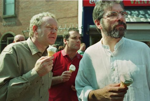 Gerry Adams and Martin McGuinness enjoy an ice cream while watching a march in Belfast to commemorate the 19th anniversary of the Hunger Strikes, May 7th, 2000. Photograph: Frank Miller
