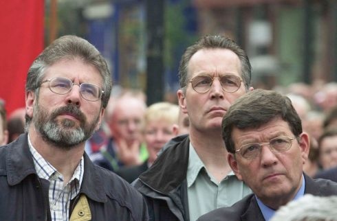 August 2nd, 2002: Gerry Adams with Gerry Kelly and Pat Doherty at an anti-sectarianism rally at City Hall, Belfast. Photograph: Frank Miller