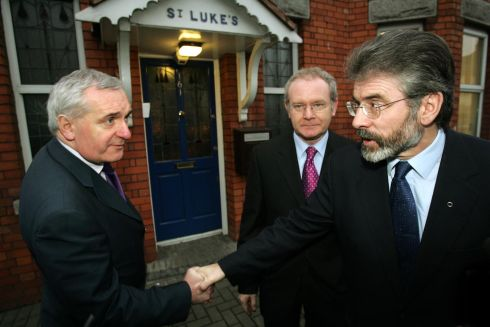 Former taoiseach Bertie Ahern with Martin McGuinness Gerry Adams following early morning talks in the taoiseach's constituency office in Drumcondra, Dublin, December 13th, 2004. Photograph: Frank Miller