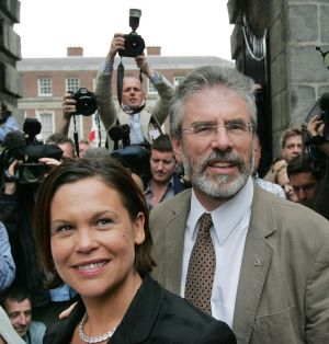 June 13th, 2008: Gerry Adams and Mary Lou McDonald arriving to hear the result of the Lisbon Treaty Referendum at Dublin Castle. Photograph: Matt Kavanagh