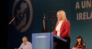 Sinn Fein leader in Northern Ireland Michelle O'Neill giving a keynote speech at the start of the Sinn Fein ardfheis at the RDS. Photograph: Alan Betson / The Irish Times