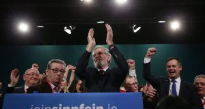 1Gerry Adams after delivering his address to delegates at the Sinn Féin ardfheis. Photograph Nick Bradshaw