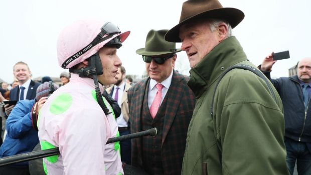 Jockey Paul Townend with owner Rich Ricci and trainer Willie Mullins after Faugheen's impreeivs return at Punchestown. Photograph: Brian Lawless/PA