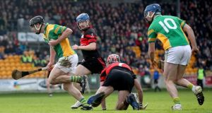 Daniel Currams bursts through to score for Kilcormac-Killoughey. Photograph: Bryan Keane/Inpho