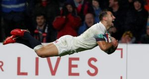 England's Danny Care scoring a try against Australia. His arrival off the bench in the final 10 minutes ignited a devastating flurry of tries that sealed a record 30-6 victory. Photograph:  Matthew Childs/Reuters