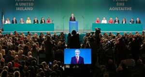 Gerry Adams during his address to delegates at the Sinn Féin ardfheis. Photograph: Nick Bradshaw