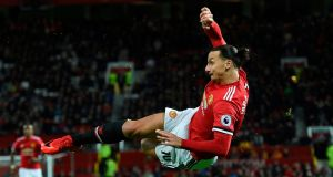 Manchester United's  Zlatan Ibrahimovic attempting  a bicycle kick  against  Newcastle at Old Trafford. Photograph:    Oli Scarff/AFP/Getty Images
