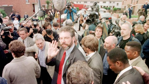 Belfast Agreement: Gerry Adams after voting in the 1998 referendum. Photograph: Paul Hackett/Reuters