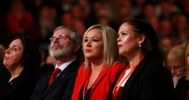 Martin McGuinness's widow, Bernie; Gerry Adams; Michelle O'Neill; and Mary Lou McDonald at the Sinn Féin ardfheis. Photograph: Nick Bradshaw