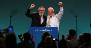 Gerry Adams and Martin Ferris at the ardfheis. Photograph Nick Bradshaw