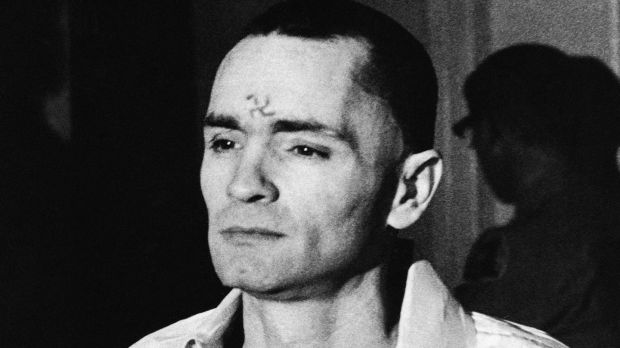 In this March 12, 1971 file photo, Charles Manson, with a swastika on his forehead, walks to court in Los Angeles, during the the penalty phase of the Sharon Tate trial after being convicted of murder in the deaths of Tate and six others. Photograph: AP