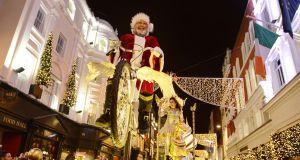 The Dublin at Christmas Procession winding its way down Grafton St. towards O'Connell St. during the official Christmas lights switch-on. Photograph: Dave Meehan/The Irish Times