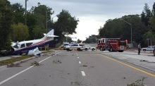 Police dashcam captures plane crash in Florida