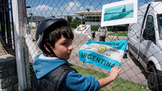 Banners and flags with messages in support of submarine crew members outside Argentina's navy base in Mar del Plata, on the Atlantic coast south of Buenos Aires. Photograph: Eitan Abramovich/AFP/Getty Images