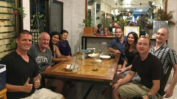 Niall Doherty with other 'digital nomads' in Chiang Mai, Thailand.
