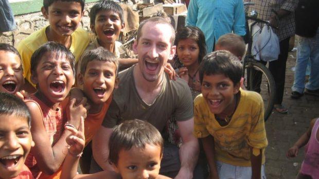 Meeting local kids in Delhi, India.