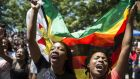 Women holding a flag of Zimbabwe take part in a demonstration of University of Zimbabwe's students on Monday to demand the withdrawal of Grace Mugabe's doctorate and refused to sit their exams. Photograph: AFP