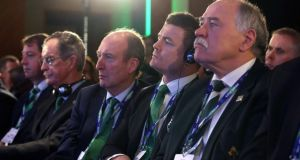 At the announcement in London of the 2023 Rugby World Cup host were Irish bid chairman Dick Spring, Minister for Sport Shane Ross, Brian O'Driscoll and IRFU president Philip Orr. Photograph: Dave Rogers/Inpho/Getty Images