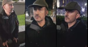 Screenshots of Kieran Creavan as he is confronted on a street in Leeds by a group.