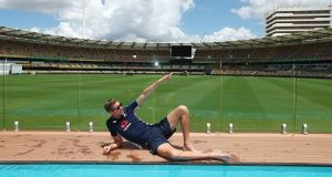 England Test player Jake Ball visits the Pooldeck at The Gabba in Brisbane, Australia. Photo: Chris Hyde/Getty Images