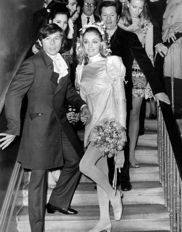Sharon Tate and Roman Polanski on the steps of Chelsea register Office in 1968. Photograph: Getty Images