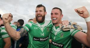 Moorefield's Ronan Sweeney and Daryl Flynn celebrate after winning the Kildare SFC final. Photo: Lorraine O'Sullivan/Inpho