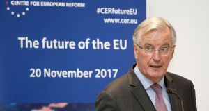 EU's Brexit negotiator Michel Barnier speaking  in Brussels  on Monday. Photograph: AFP/John Thysjohn/AFP/Getty