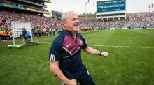 Micheál Donoghue celebrates as Galway beat Waterford in the All-Ireland Senior Hurling Championship final at  Croke Park in September. Photograph: Ryan Byrne/Inpho