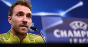 Christian Eriksen of Tottenham Hotspur speaks during a press conference ahead of their Champions League clash with Borussia Dortmund. Photo: Maja Hitij/Bongarts/Getty Images