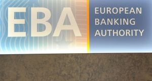 The European Banking Authority (EBA) logo seen at the EBA offices in London's Canary Wharf financial district. Photograph: Alice Dore/AFP