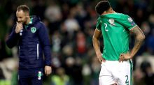 Ireland's Cyrus Christie leaves the pitch after the World Cup qualifying playoff defeat to Denmark. Photo: Ryan Byrne/Inpho